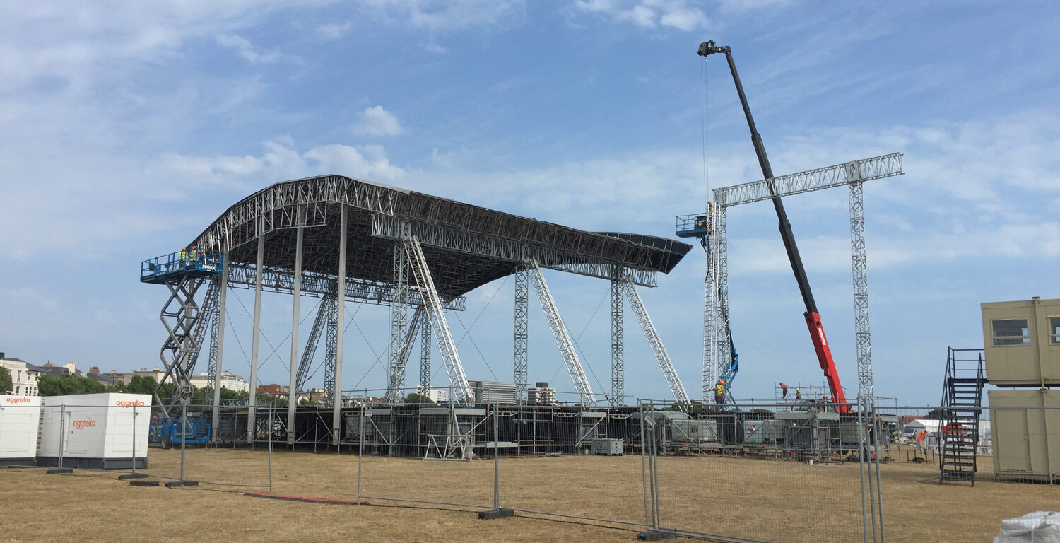 Main stage build, Americas Cup World Series Fanzone, 2015, Production Management and Stage Management by Victorious Events